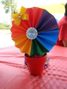 Like the pot idea - use multiple colored pinwheels