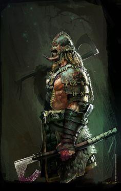 Bárbaro humano com dois machados de guerra, selvagem da tribo presas afiadas