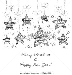cute hand drawn decorative abstract Christmas stars in black and white colors hanging on ropes with stars and sparkles -