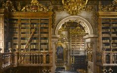 Biblioteca Joanina, Coimbra University, Portugal from: The Evolution of the College Library - James W. Campbell & Will Pryce - The Atlantic Coimbra University, Library University, Saint Florian, Decoration Baroque, Coimbra Portugal, Beautiful Library, Dream Library, Grand Library, Central Library