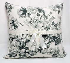 $20 Country Style Dark Grey Smoke Floral Print on Cream Backround Decorative Pillow Case , Cushion Cover