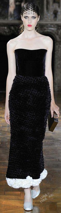 Ulyana Sergeenko ~ Couture Strapless Black Velvet Gown w White Rosette Trim Fall 2015