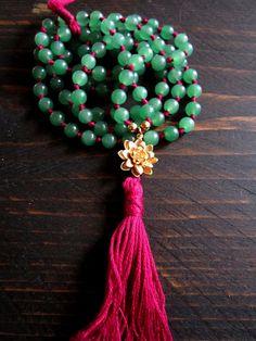 Lotus mala, 108 mala beads,Hand knotted mala,aventurine mala,lotus necklace,boho long tassel necklace,yoga jewelry
