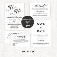 Mr. and Mrs. Wedding Invitation Set   Wedding Invitation Template   Calligraphy…