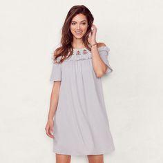 Women's LC Lauren Conrad Cold-Shoulder Shift Dress, Silver