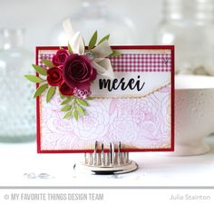 Well-Connected Alphabet Stamp Set, Floral Fantasy Background, Stitched Scallop Basic Edges 2 Die-namics, Mini Rolled Roses Die-namics, Rolled Rose Die-namics, Leafy Greenery Die-namics, Blueprints 13 Die-namics - Julia Stainton #mftstamps