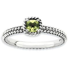 Stackable Expressions Checker-Cut Peridot Sterling Silver Antiqued Ring, Blue