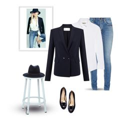 Navy Blazer~White Button Up~Jeans 3/9/2016 by idocoffee on Polyvore featuring polyvore, fashion, style, Burberry, HUGO, Yves Saint Laurent, Charlotte Olympia, rag & bone, OSP Designs and clothing