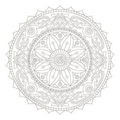 Illustration of Beautiful hand-drawn doodle mandala vector art, clipart and stock vectors. Rangoli Patterns, Doodle Patterns, Art Patterns, Royal Icing Templates, Mandala Doodle, Pyrography Patterns, Celtic Designs, Coloring Pages, Colouring