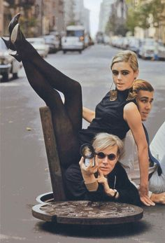 Film + Fashion: Andy Warhol & Edie Sedgwick in NYC manhole