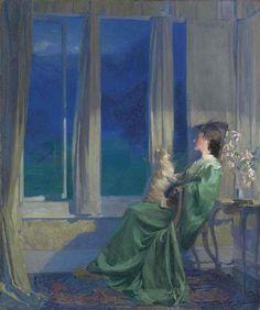 When the blue evening slowly falls (1909). Frank Bramley, R.A. (British, 1857-1915).