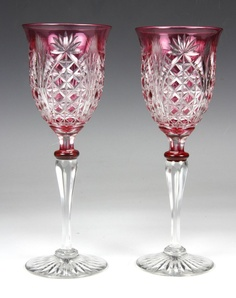 Elegant Pair of Late 19th Century Cranberry Cut to Clear Goblets