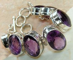 Amethyst Faceted bracelet designed and created by Sizzling Silver. Please visit  www.sizzlingsilver.com. Product code: BR-7999