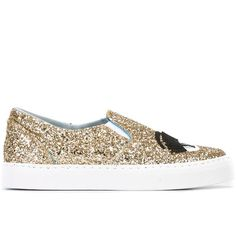 Chiara Ferragni 'Flirting' slip-on sneakers ($327) ❤ liked on Polyvore featuring shoes, sneakers, grey, metallic slip-on sneakers, leather shoes, leather sneakers, glitter slip on sneakers and grey sneakers