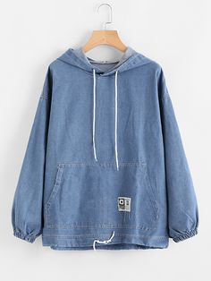 To find out about the Drawstring Hood Kangaroo Pocket Denim Sweatshirt at SHEIN, part of our latest Sweatshirts ready to shop online today! Sweatshirts Online, Hooded Sweatshirts, Hoodies, Denim Fashion, Fashion Outfits, Fashion Sale, Fashion Fashion, Mode Simple, Denim Top