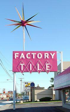Vintage 1950's Era Factory Tile Neon Sign & Atomic Starburst Neon In Afternoon Light - South Bend Indiana - 5/31/09 by randomroadside, via Flickr