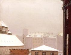 The Athenaeum - Copenhagen: Roofs Under the Snow (Peder Severin Kroyer - )