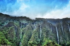 Waterfalls down the Koolau Mtns as seen from the H3 only in heavy rainfall.
