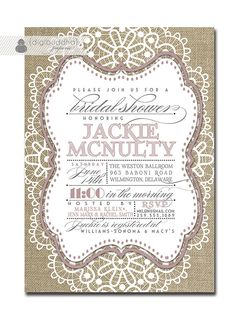 Lace Bridal Shower Invitation Linen Burlap Lilac Gray Vintage Rustic Wedding Invite Soft Pastel Printable Digital or Printed - Jackie Style