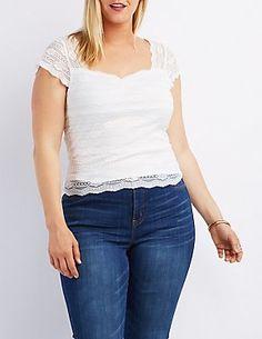 Plus Size Floral Lace Crop Top
