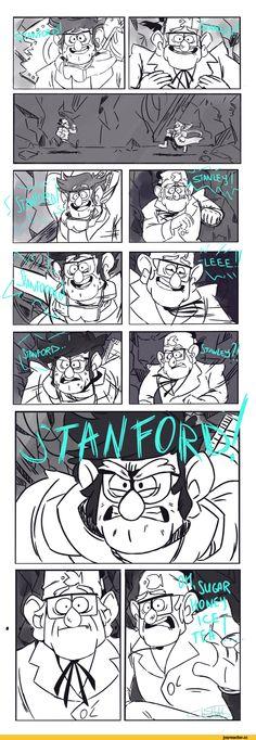 (Actually their names are flipped) Madagascar meets Gravity Falls Gravity Falls Funny, Gravity Falls Comics, Moon Emoji, Gavity Falls, Online Comics, Reverse Falls, Billdip, Funny Drawings, Disney Shows