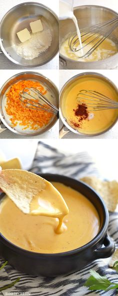 This rich and tangy nacho cheese sauce only takes about 5 minutes to make and uses only real, simple ingredients. Step by step photos. - BudgetBytes.com