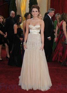 Miley Cyrus 82nd Annual Academy Full Beaded Chiffon Gorgeous Awards Red Carpet Dress