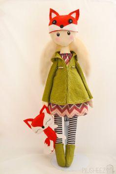 Winter Cloth Doll Rag doll textile felt fox plush toy by Plusheez