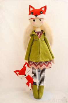 Winter Cloth Doll Rag doll textile felt fox plush toy by Plusheez