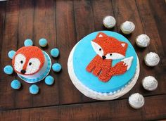 Sweet Little Fox first birthday cakes-- such a cute theme. Smash cake had ears that stuck up added when it was go time.
