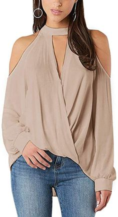Women Blouses - Blouses for ladies Women Blouses 2019 Spring Sexy Fashion Cold Shoulder Top Elegant Long Sleeve Blouse Plain OL Office Shirt Halter Classic Tops Bluse Outfit, Top Mode, Mode Chic, Shoulder Shirts, Cold Shoulder Tops, Cold Shoulder Blouse, Online Shopping Clothes, Online Clothes, Casual Tops