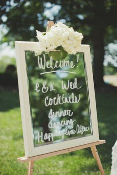 beautiful mirror welcome board with hydrangeas <3