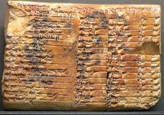 """""""Plimpton 322""""  --  Ancient Babylonian Mathematical Cuneiform Text  --  1900-1600 BCE  --  Reveals that the Babylonians discovered a method of finding """"Pythagorean Triples,"""" i.e., sets of three whole numbers such that the square of them is the sum of the square of the other two.  Discovered in Larsa, Iraq in 1920."""