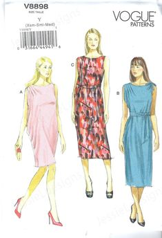 Uncut vogue sewing pattern 8898 Misses Dress and Belt Size XS | Etsy