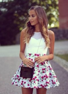 Dress: shirt, date outfit, flowers, girly, summer, white dress ...