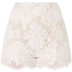Ellena White Lace Shorts (€24) ❤ liked on Polyvore featuring shorts, white shorts, white lace shorts, lace shorts and lacy shorts