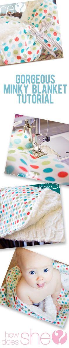 Cotton Print and Minky Baby Blanket howdoesshe.com