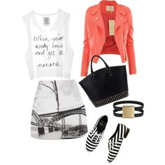 Back to school outfit love the coral jacket