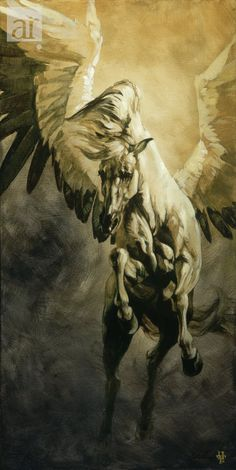Pegasus: Power, Grace, & Beauty.-watercolor idea - use a different horse, find some wings.