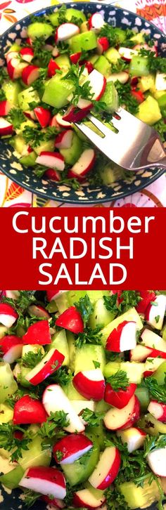 I love this cucumber radish salad! So healthy, crunchy and refreshing! YUM YUM YUM! Creamy Cucumber Salad, Avocado Tomato Salad, Radish Salad, Healthy Recipes On A Budget, Healthy Salad Recipes, Healthy Meals, Perfect Salad Recipe, Easy Summer Meals, Summer Recipes