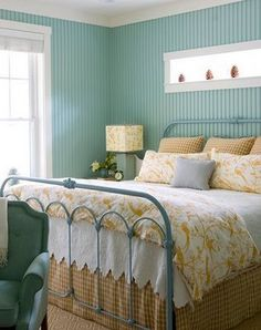 Teal and yellow and white bedroom. I think I'd like a little deeper teal and brighter yellow. Pop of red somewhere for fun.