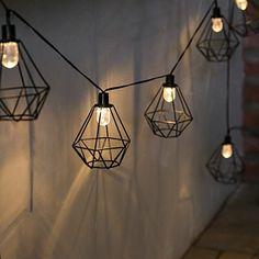 Solar Metal Terrarium Cage Fairy Lights, Warm White LEDs, at Estuary Co Balcony Lighting, Bedroom Lighting, Outdoor Lighting, Lighting Ideas, Outdoor Fairy Lights, Solar House Numbers, Ghost Light, Lantern String Lights, Style Noir