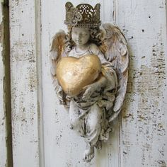 Wall Angel statue sculpture shabby chic hand by AnitaSperoDesign, $170.00