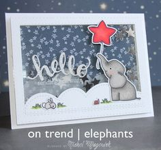 card critters elephant Avery elle Ellie ballon star shaped balloons star stars scripty hello ON TREND Card Making Inspiration, Making Ideas, Card Tags, I Card, Little Elephant, Mama Elephant, Interactive Cards, Shaker Cards, Animal Cards