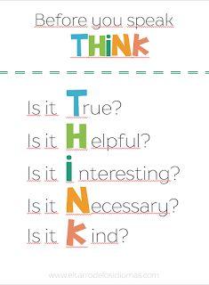 Antes de hablar piensa... / Before you speak think... - El tarro de los idiomas - Recursos educativos, descargas. Inglés, español. MFL GCSE