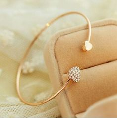 #Gold/silver #plated rhinestone love heart open bangle cuff #bracelet jewellery u,  View more on the LINK: http://www.zeppy.io/product/gb/2/112082111095/