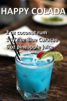 happy colada happy colada No coconut rum more lol like mango rum - food and cocktails Liquor Drinks, Cocktail Drinks, Vodka Cocktails, Pina Colada Cocktail, Rum Punch Cocktail, Vodka Punch, Lemonade Cocktail, Healthy Cocktails, Frozen Cocktails