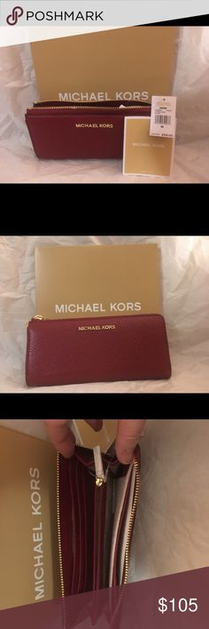 "Michael Kors Bedford Large Three Zip Wallet Description  Brand New With Tag. Never been used.  Michael Kors Bedford Large Three Quarter Zip Around Wallet is made of pebbled leather with polished hardware. It zips along the right side and across the top with an accordion pleated side on the left..  Product Dimensions: 7.75""(L) x 3.75"" (H) 1"" (W) Item Weight: 6.4 ounces Color: Cherry Michael Kors Bags Wallets"