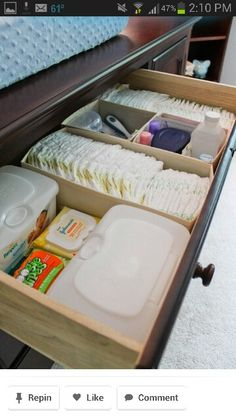 Baby changing station organizer