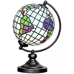 """14.9""""H Tiffany Style Stained Glass Round Globe Table Lamp"""